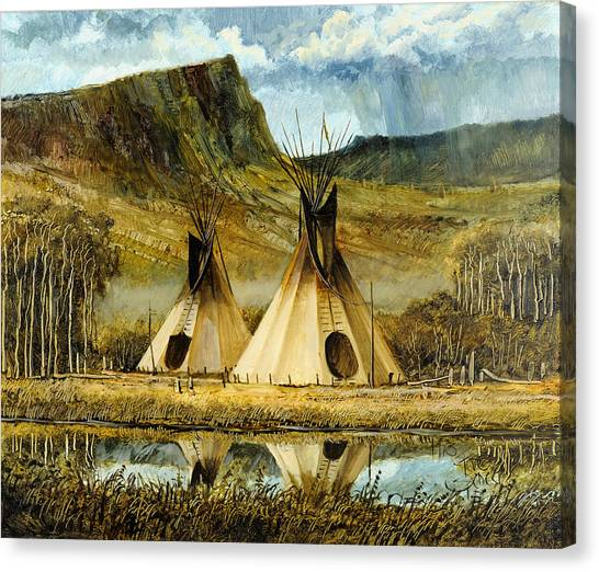 Reflected Tipis Canvas Print