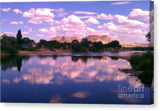 Reflecting On Green River Canvas Print