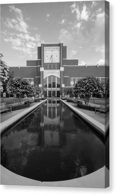 Oklahoma University Canvas Print - Reflecting Pond Outside Of Oklahoma Memorial Stadium by Nathan Hillis