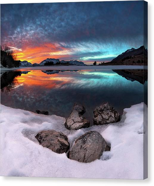 Alps Canvas Print - Reflection by Arzur Michael