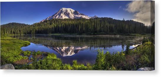 Mount Rainier Canvas Print - Reflection Lake Panorama by Mark Kiver