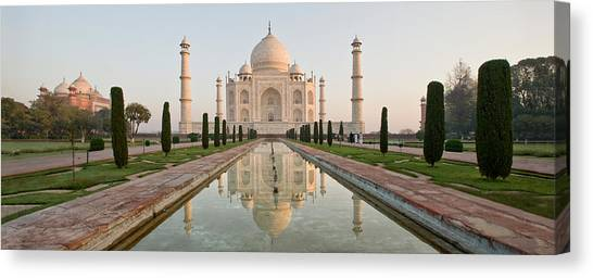 Featured Images Canvas Print - Reflection Of A Mausoleum In Water, Taj by Panoramic Images