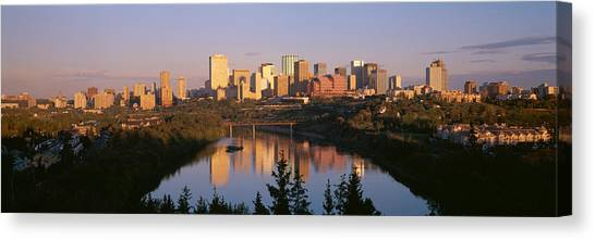 Saskatchewan Canvas Print - Reflection Of Downtown Buildings by Panoramic Images