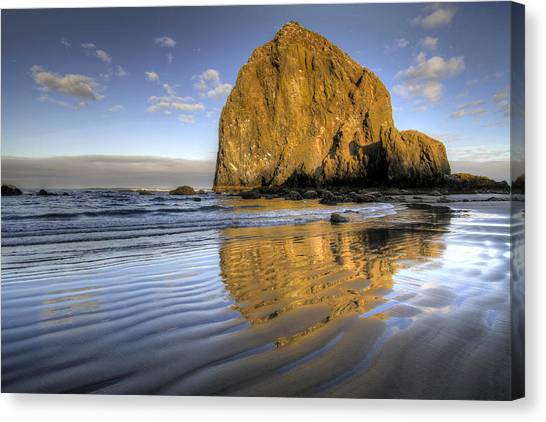 Reflection Of Haystack Rock At Cannon Beach 2 Canvas Print