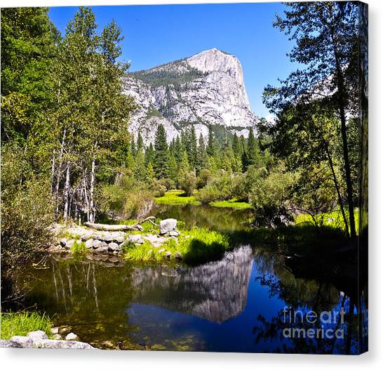 Reflection Of Mt Watkins In Mirror Lake Located In Yosemite National Park Canvas Print by Camille Lyver