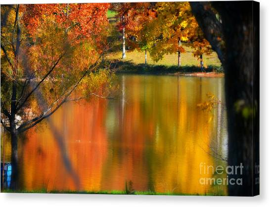 Reflection  Of My Thoughts  Autumn  Reflections Canvas Print