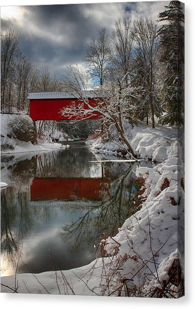 reflection of Slaughterhouse covered bridge Canvas Print