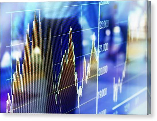 Reflection Of Stock Market Graph In Window Canvas Print by Hiroshi Watanabe