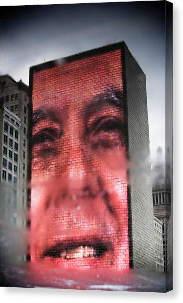 The Crown Canvas Print - Reflection Of The The Crown Fountain by Ron Koeberer