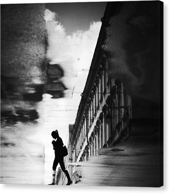 Street Canvas Print - Reflection On The Street by Dragoslav S.