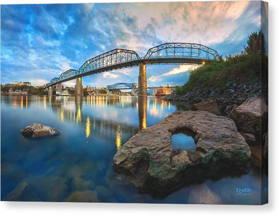 Reflection Rock At Low Water Canvas Print