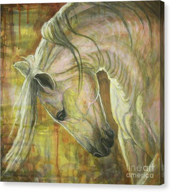 White Horse Canvas Print - Reflection by Silvana Gabudean Dobre