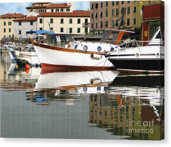 Reflections Along The Canal Canvas Print
