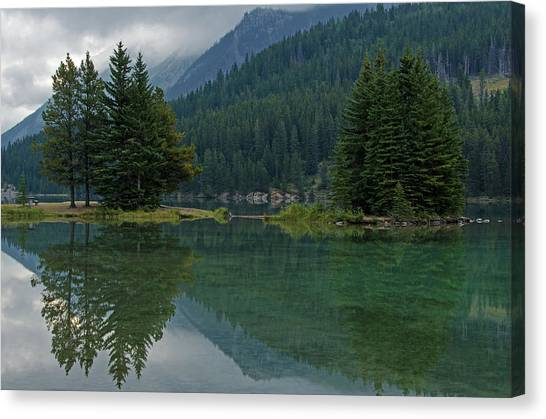 Reflections At Two Jack Lake Canvas Print