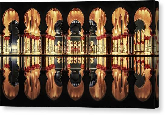 Mosques Canvas Print - Reflections In The Mosque by Massimo Cuomo
