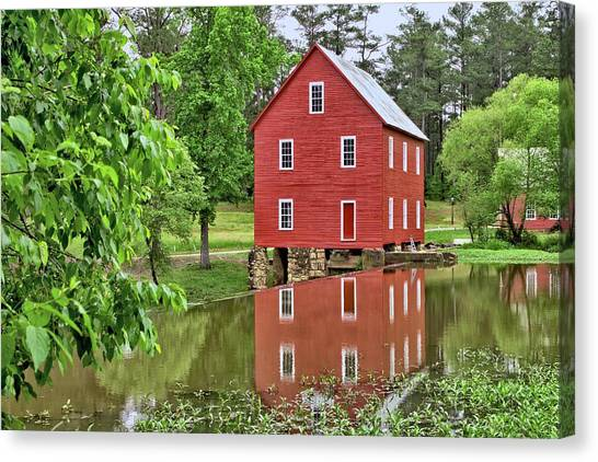Reflections Of A Retired Grist Mill Canvas Print
