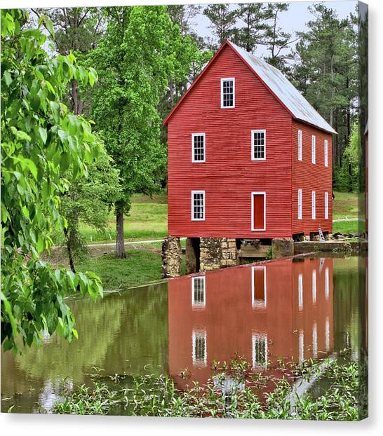 Reflections Of A Retired Grist Mill - Square Canvas Print