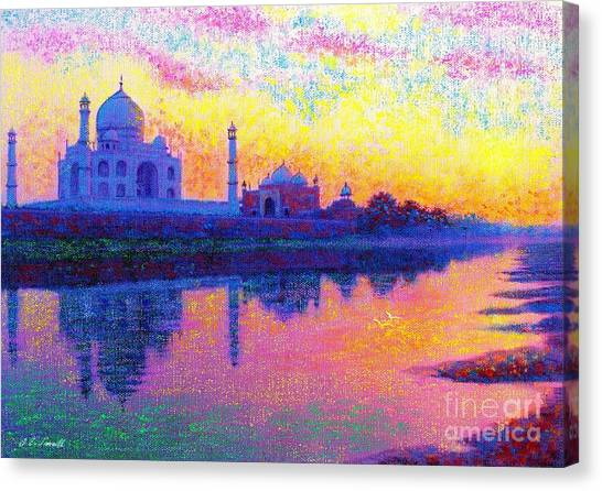 Temple Canvas Print - Taj Mahal, Reflections Of India by Jane Small