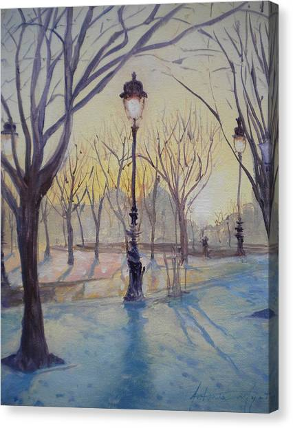 Les Invalides Canvas Print - Reflections Of Lamp Post Dome Church, 2010 Oil On Canvas by Antonia Myatt