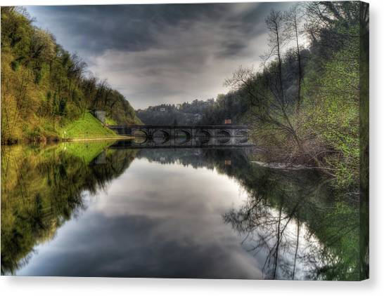 Reflections On Adda River Canvas Print