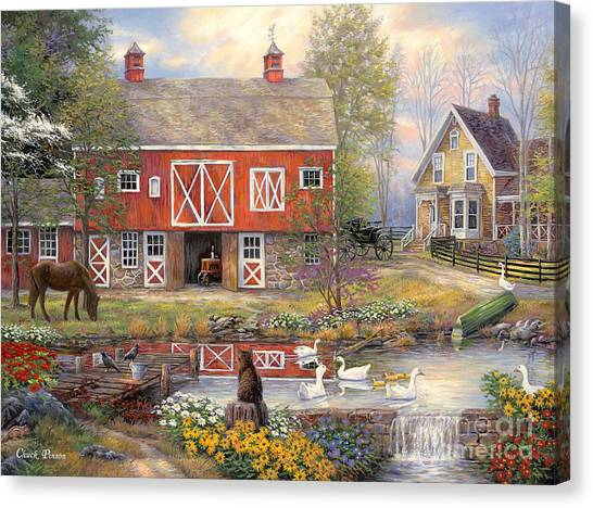 Horse Farms Canvas Print - Reflections On Country Living by Chuck Pinson