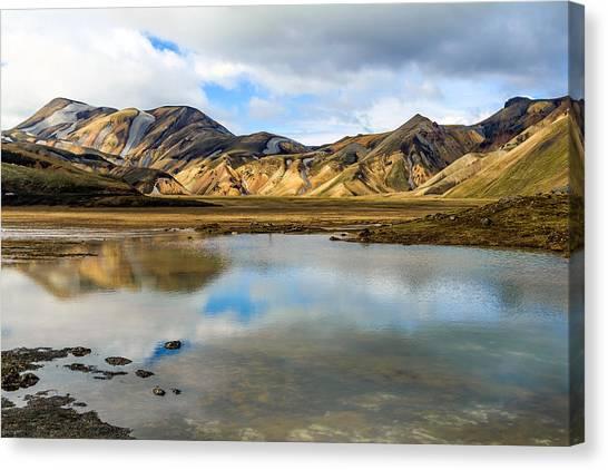 Reflections On Landmannalaugar Canvas Print