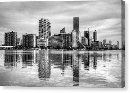 Reflections On Miami Canvas Print by William Wetmore