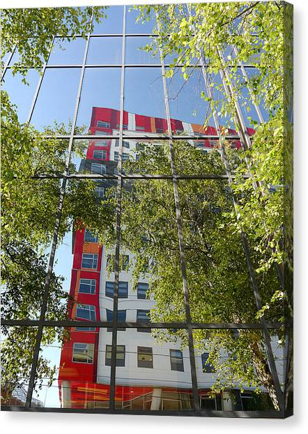 Temple University Canvas Print - Reflections On Montgomery Ave by Richard Reeve