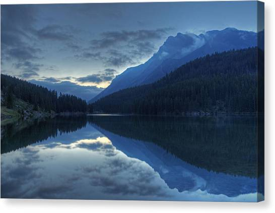 Reflections On Two Jack Lake Canvas Print