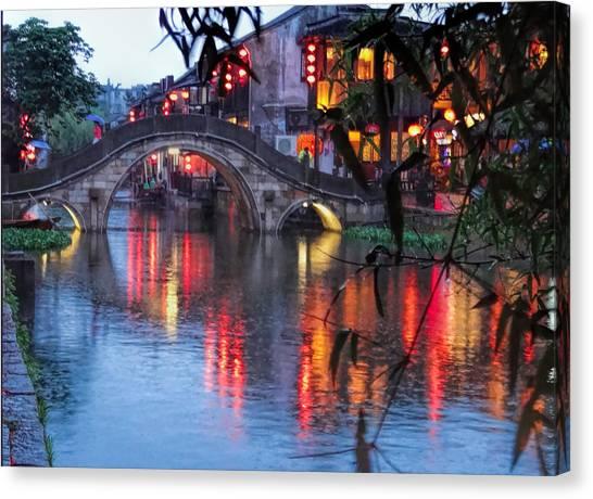 Reflections Xitang Evening Canvas Print