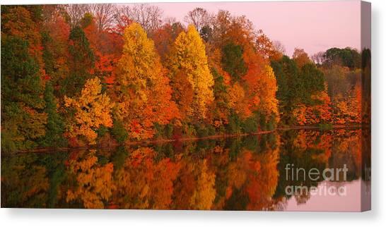 Reflective Lake Nockamixon Pano - Twilight Canvas Print