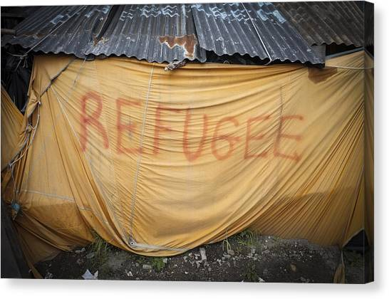 Refugee Tent In The Jungle Calais Canvas Print by Phil Le Gal