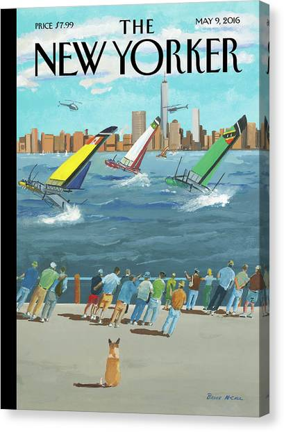 Reggata On The Hudson Canvas Print by Bruce McCall