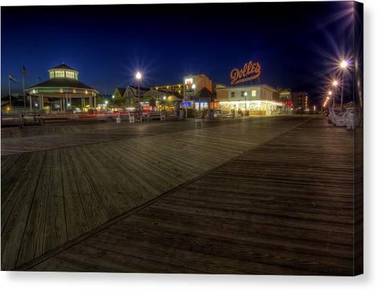 Rehoboth Beach Boardwalk At Night Canvas Print