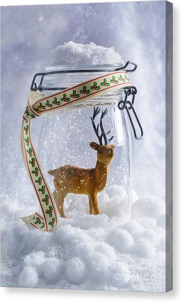 Snowball Canvas Print - Reindeer Figure by Amanda Elwell