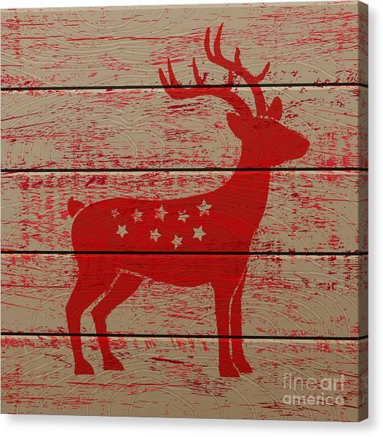 Decoration Canvas Print - Reindeer On Old Wooden Background by Serazetdinov
