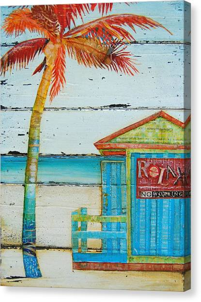 Palm Trees Canvas Print - Relax No Working by Danny Phillips