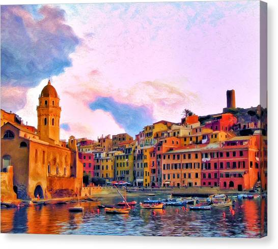 Relaxing Around Vernazza Canvas Print