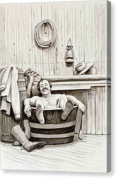 Relaxing Bath - 1890's Canvas Print