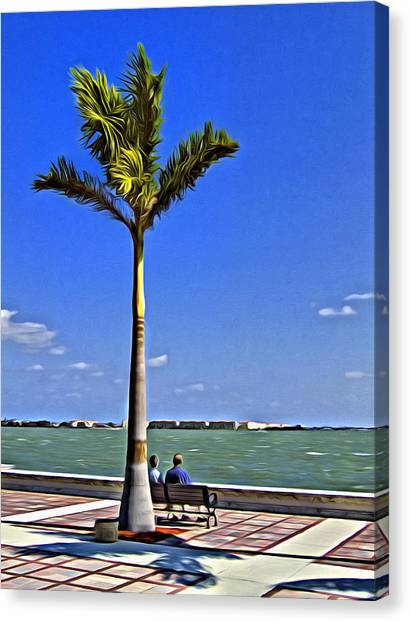 Fort Pierce Canvas Print - Relaxing Under A Palm by Patrick M Lynch
