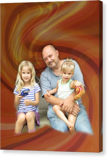 Relaxing With The Grandchildren Canvas Print