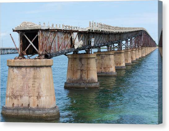 Relic Of The Old Florida Keys Overseas Railroad Canvas Print