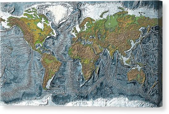 Ocean trenches canvas prints fine art america ocean trenches canvas print relief map of the earth by carol and mike werner gumiabroncs Choice Image