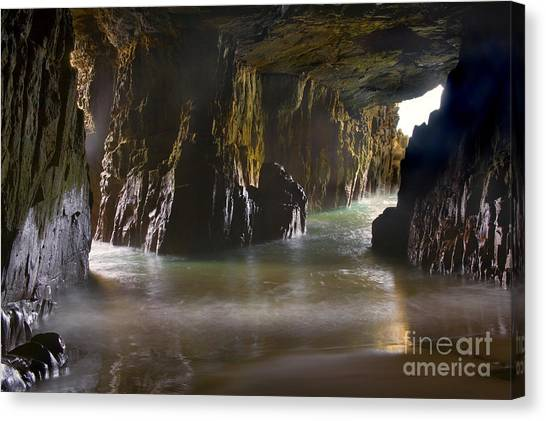 Limestone Caves Canvas Print - Remarkable Sea Cave by Mike  Dawson