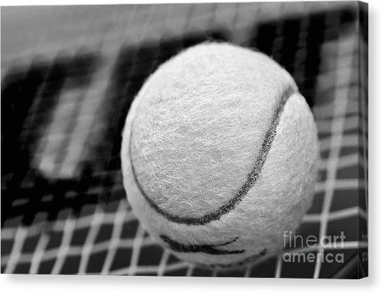 Tennis Racquet Canvas Print - Remember The White Tennis Ball by Kaye Menner