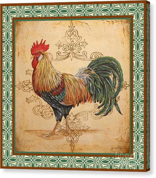 Renaissance Rooster-a-green Canvas Print