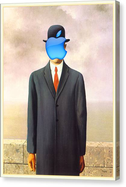 Rene Magritte Son Of Man Apple Computer Logo Canvas Print