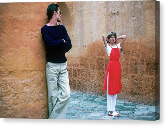 Rene Russo And A Male Model In Arequipa Canvas Print