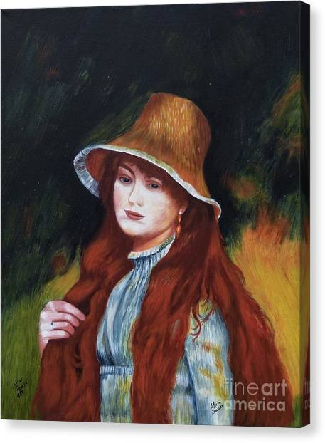 Renoir-young Girl In A Straw Hat Canvas Print