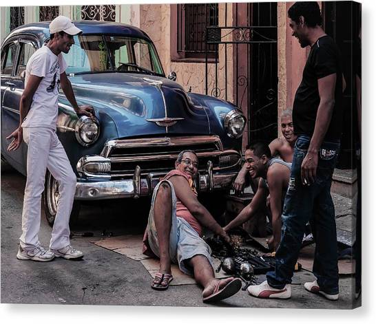 Street Canvas Print - Repairing A Car by Andreas Bauer